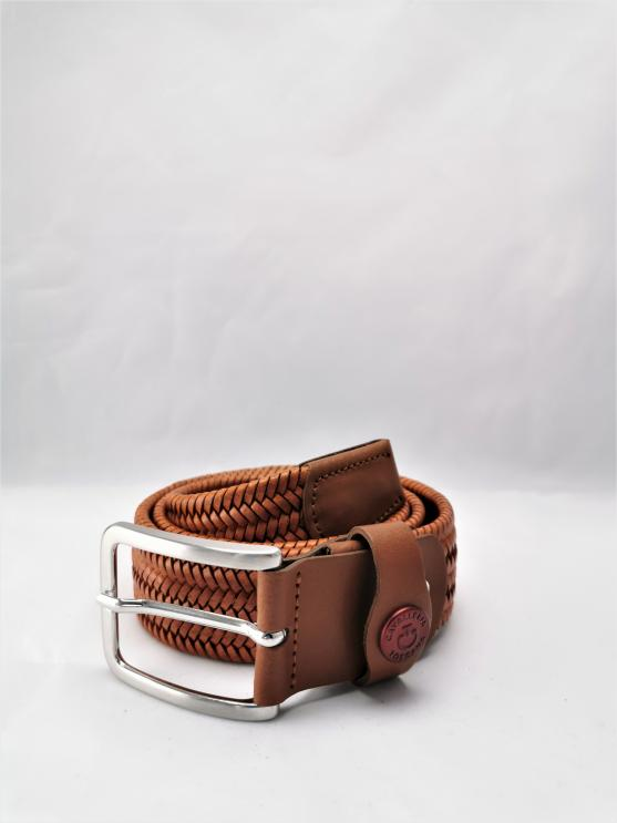 Pasek Clasp Belt Leather cognac