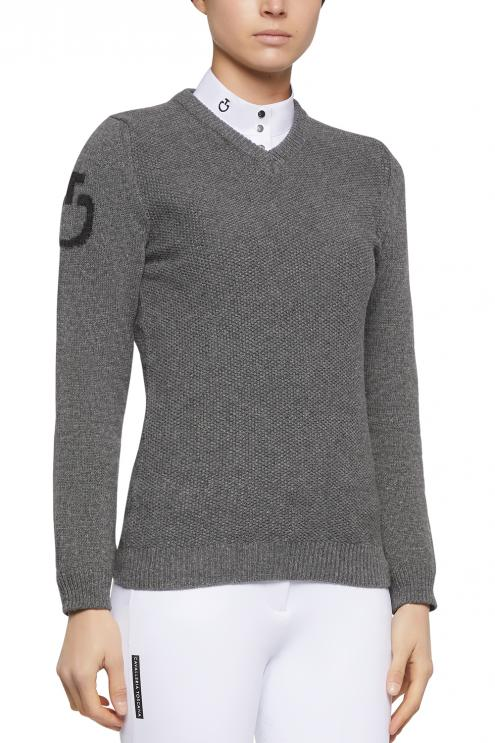 V-Neck Seed Stitch Sweater grafit