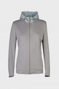 Piquet Zip Sweatshirt With Color Contrasting Nylon Hood jasnoszary
