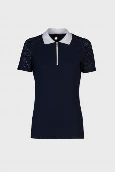 Perforated Raglan Sleeve Polo With Front Zip royal blue